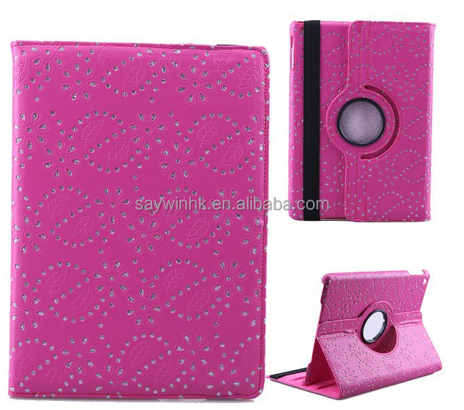 The rhinestone Maple leaf PU leather Rotary Tablet case for iPad