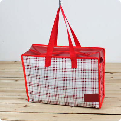 Printable reusable plastic shopping bag with zipper