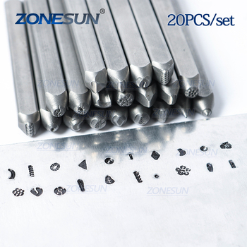 ZONESUN 20PCS Custom Jewelry Metal Stamps Flower Moon Heart Symbol Leather Punch Die Craft LOGO Stamping Tools Steel Metal Tool