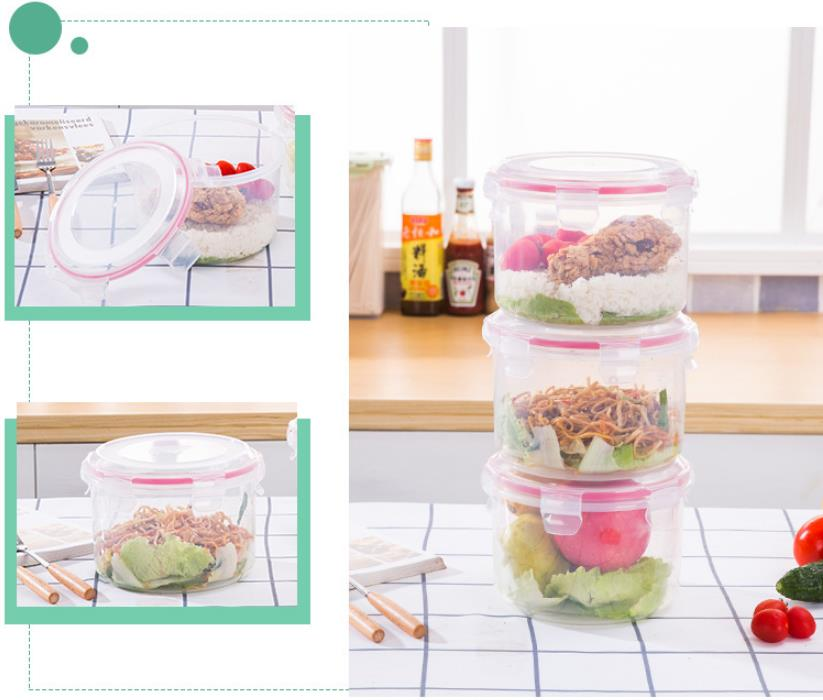 China Supplier Clear Biodegradable Microwave Plastic Food Storage Lock Container Tiffin Bento Lunch Box With Lid