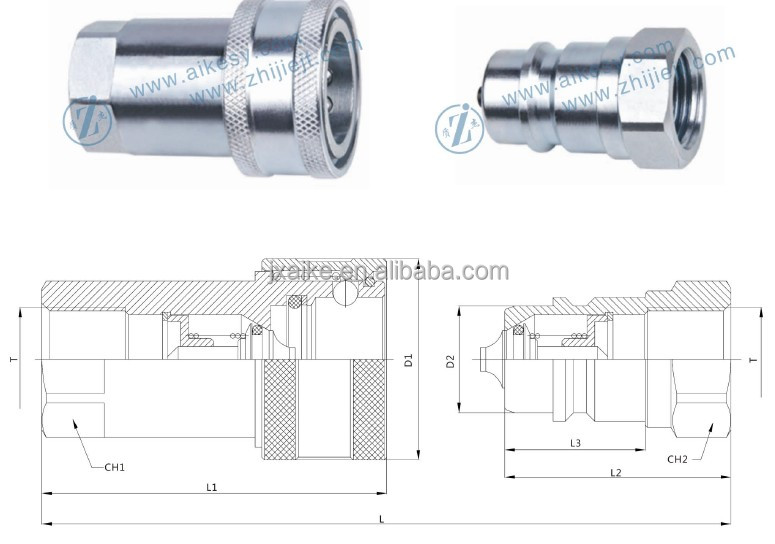 ISO 7241 A poppet type PARKER 6600 series hydraulic quick coupler
