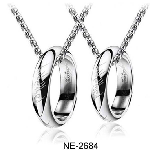 Stainless Steel Couple Necklace Platinum Lord of the Rings Pendant Necklace