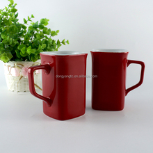 9oz 250ml red glaze couple his and her wedding party mugs coffee custom christmas oem milk wife wholesale ceramic square mug
