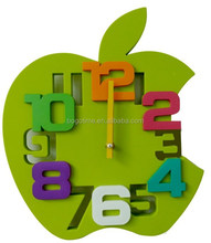 Apple shape 3D decorative plastic wall clock