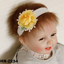 Fashion lace chiffon flower crochet baby elastic headband