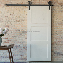 white paint color pine larch alder China supplier solid wood 3 panel sliding closet doors american barn door
