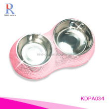 Nice quality bling bling rhinestone inlaid solar wooden suction cup folding pet water bowl