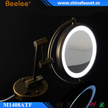 Beelee Antique Brass Wall Mount Battery LED Lighted Shaving Mirror