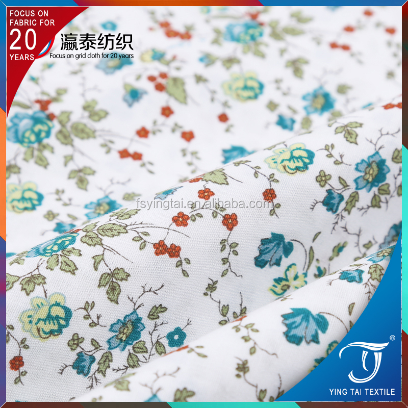 Elegant design 100% cotton printed poplin fabric plain cloth for lady dressing