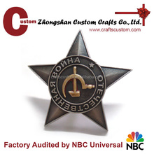 New products 2016 custom souvenir gifts zinc alloy material star shape security badge with screw and nut