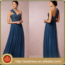 BD58 Elegant Girl Party Dress for Maid of Honor with Sahes One Shoulder Royal Blue Sweetheart Bridesmaid Dresses