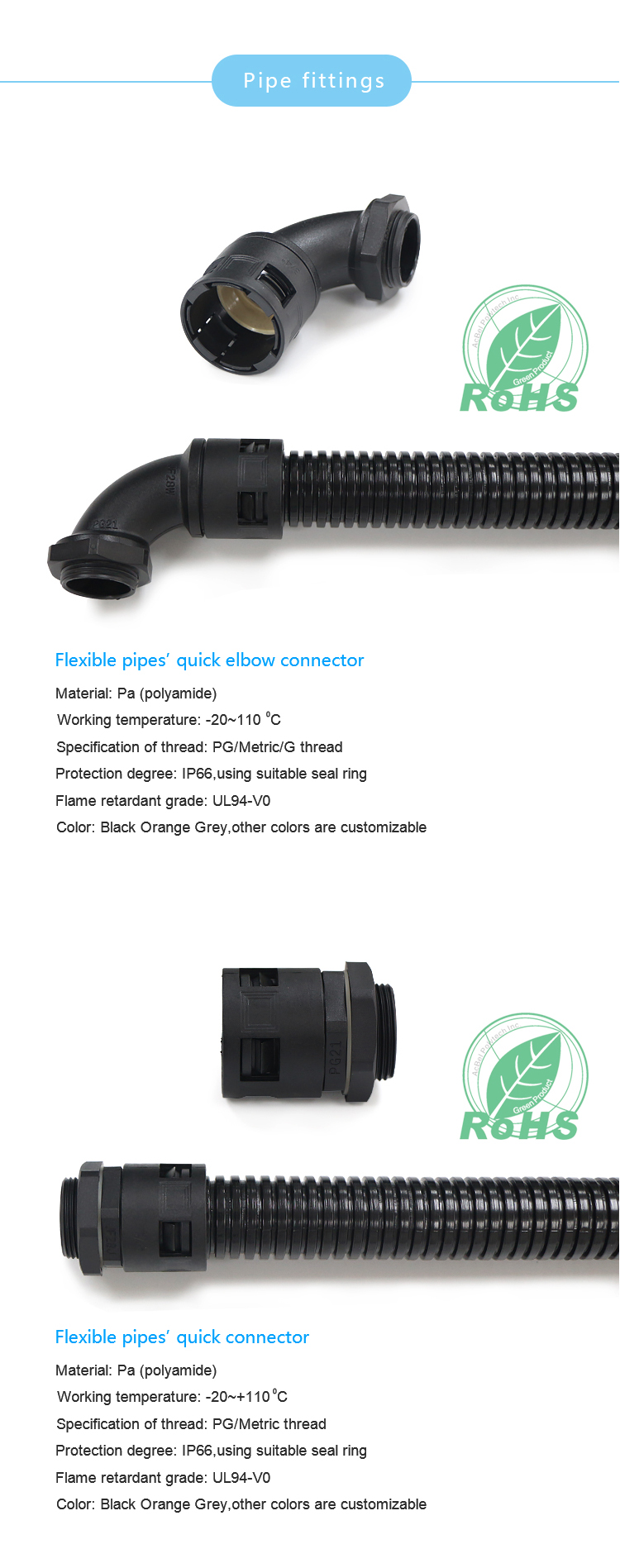 Different material connector for corrugated pipe