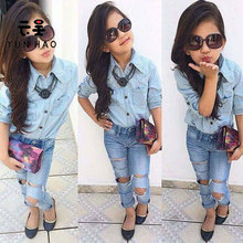 Trend Children Clothes Girls Ripped Jeans Suit Korean Clothes