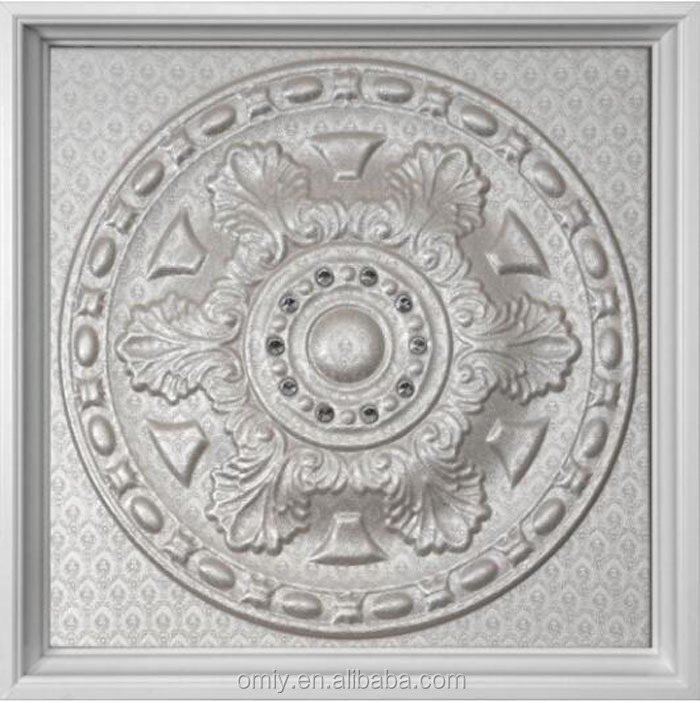 450x450mm High Quanlity and Elegant 3D PU Leather Carved Aluminum Ceiling (DG4545PC009)