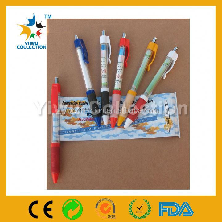 promotional ball pen with banner,key ring metal banner pen,calender pen