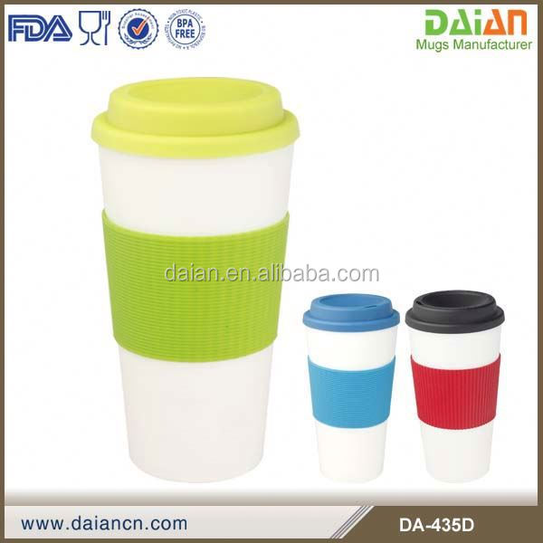 Double wall plastic mug with silicon or TPR crap