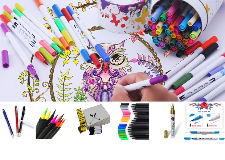 100 colors water ink personalized label brand dual tip brush pen set