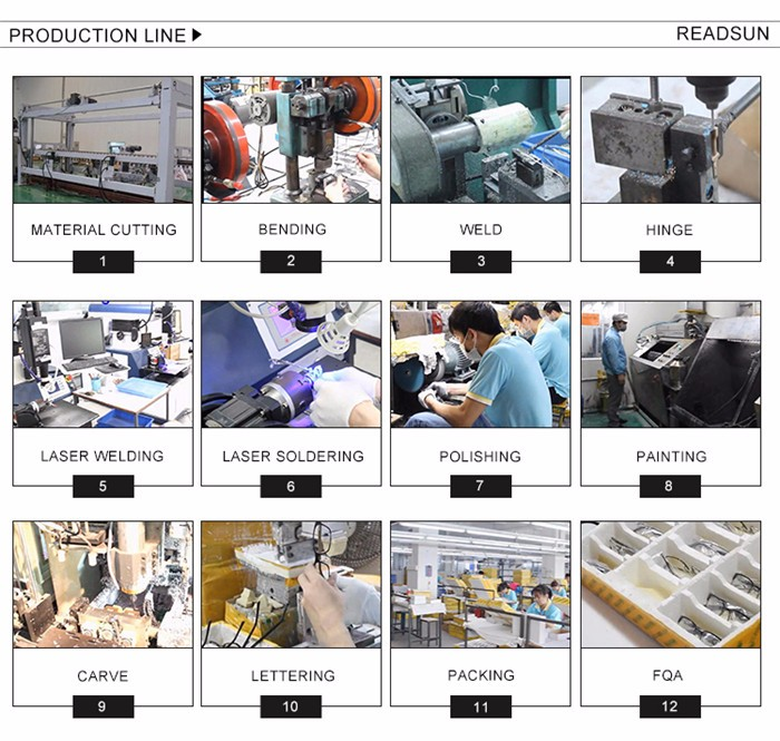 READSUN 도매 사용자 정의 로고 tr90 광학 프레임 사원