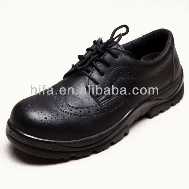 black leather Breathable working shoes safety shoes security boots