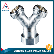 chrome plated brass fittings Y type three way elbow male female thread connection sanitary ISO in YUHUAN OUJIA VALVE FACTORY