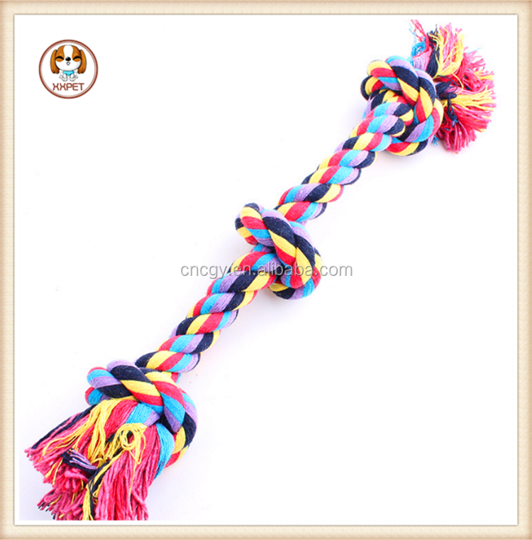 High Quality Multicolor Pet Cotton Knotted Braided Rope Bone Tug Dog Chewing Toy Big