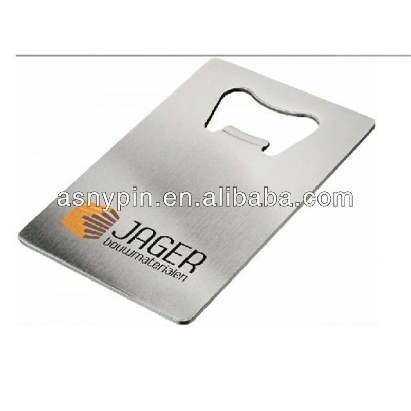 Credit card size bottle opener with custom logo