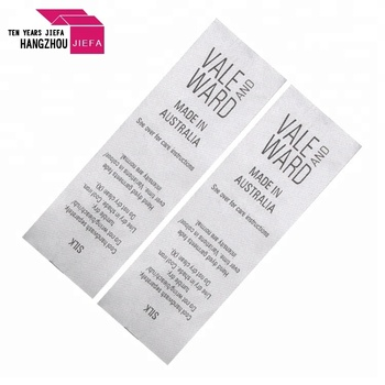 Custom White Backing Black Writing Printing Satin Care label