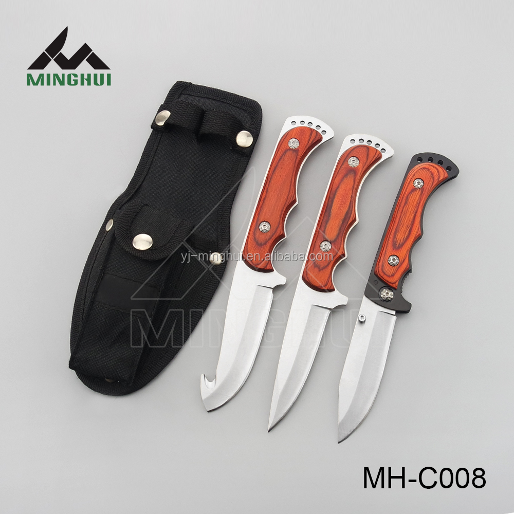 Hunting knife set with wood handle
