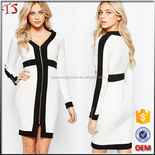 Guangdong oem long sleeve pencil dress latest color combinations of dresses with black and white