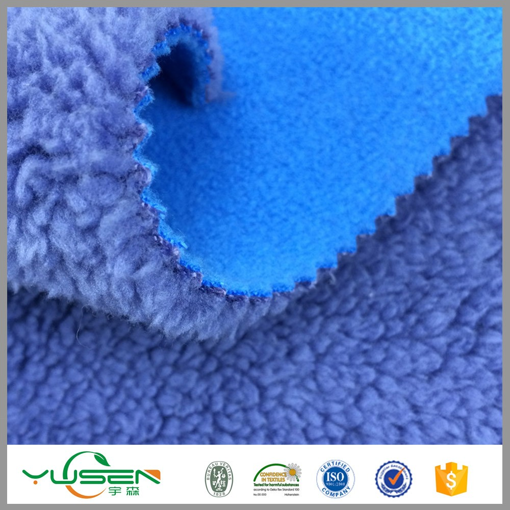 bonded 100% polyester sherpa fleece fabric and melange fleece fabric for winter clothes