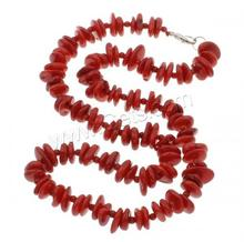 beads necklace Natural Coral brass lobster clasp Nuggets red 9x8x3mm-10x14x3mm Length:Approx 17 Inch 873000
