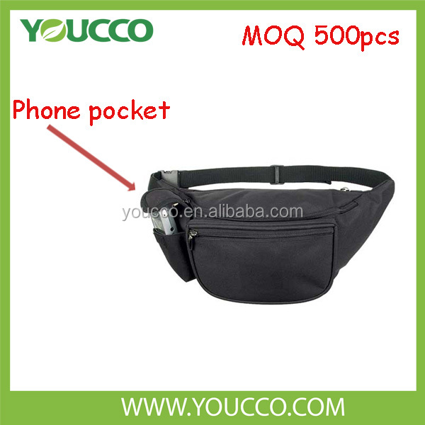 Leather waist running bag cell phone long belt bag