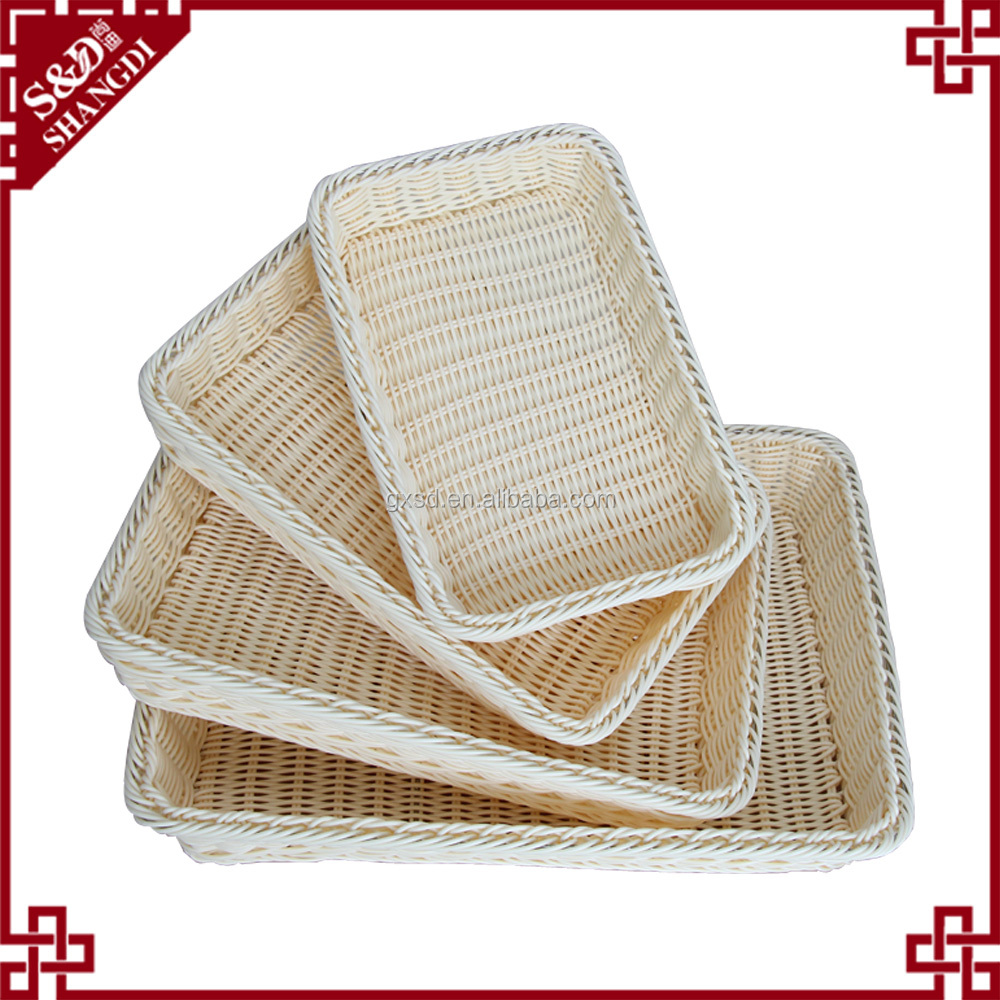Custom Various Size synthetic rattan storage baskets for sundries display
