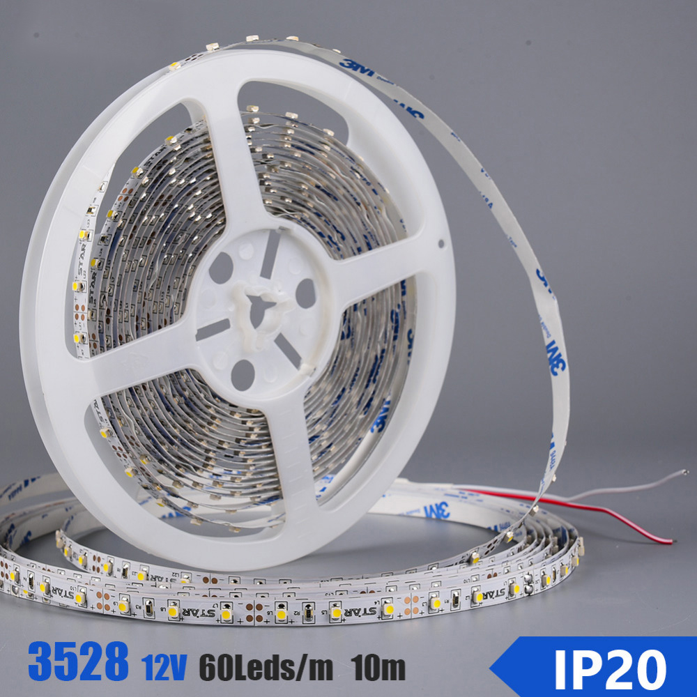 10M/roll SMD3528 Flexible LED Strip 60leds/m IP20 IP65 DC12V Flex LED Tape Light Ledstrip +60W LED Power Supply Transformer
