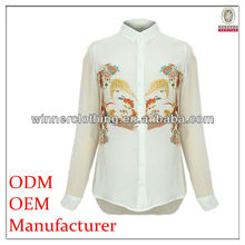 newest fashion front buttons open pictures down blouse