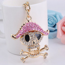 Fashion wholesale gift decorative diamond crystal metal vikings keychain