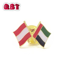 UAE flag metal badge, cross red flag lapel pin for suit, enamel country flag