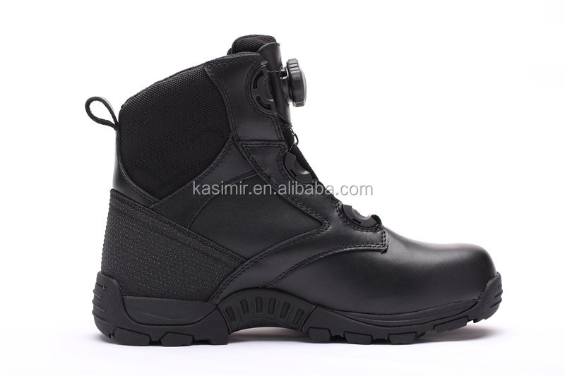 BOA closure system Full grian leather black kevlar fabric military army boots for men