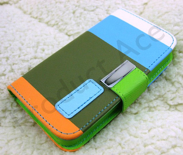 Mixed Color Block Leather Like Flip Case for IP4/IP5