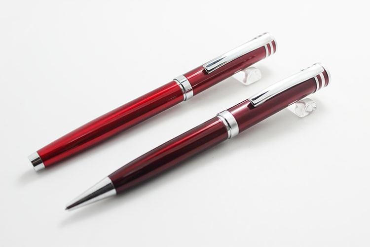 2016 Simple Burgundy Metal Pen Set For Business People (Roller Pen / Ball Pen)