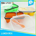 Professional company silicone folding tiffin box lunch microwavable