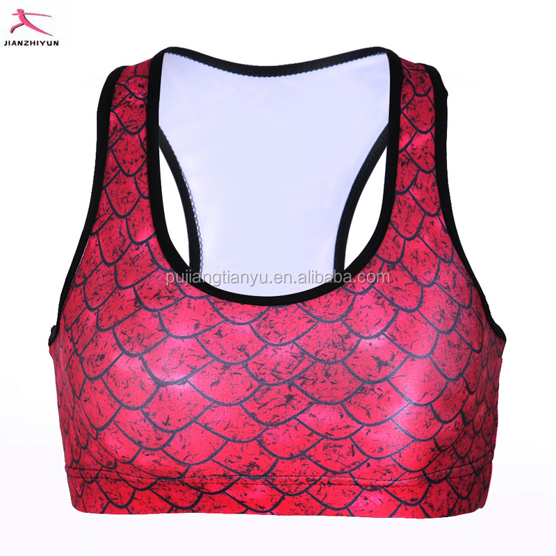Wholesale Ladies Cheap Hot Large Seamled Adhesive Push Up Supplex Gym Trainning fish scales Yoga Sports Bra 2017