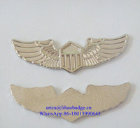 Customized metal wing pin badge, silver wing badge, butterfly clutches wing badge pins