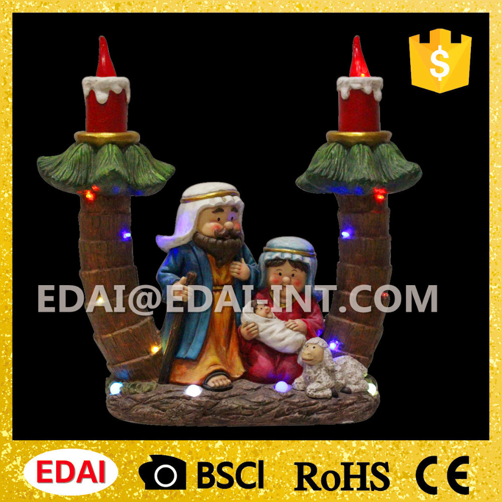 New arrival indoor led lighted Magnesia christmas decorations nativity sets