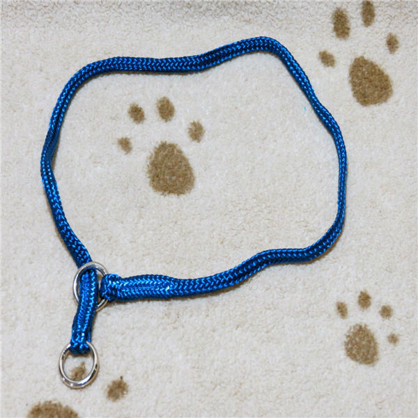 "Dog Pet Training Supplies Soft Nylon Show Choke Collar 26"" in. Blue New Sale"