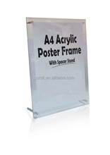 A4 desktop acrylic poster frame with space stand