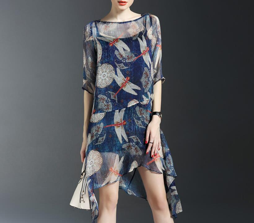 <strong>M107</strong> D.Y fashion ladies summer slim irregular floral print dress