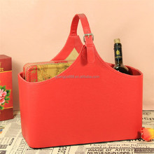 Leather basket,storage case for sundries,wine carrier