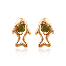 24315 fashion designs new model earrings, animal fish shaped gold stud single stone earring designs