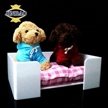 JINBAO Factory 2018 New Fashion Hot Sale custom cheap lucky elegant acrylic dog pet bed,Square Free Standing Acrylic Pet Bed